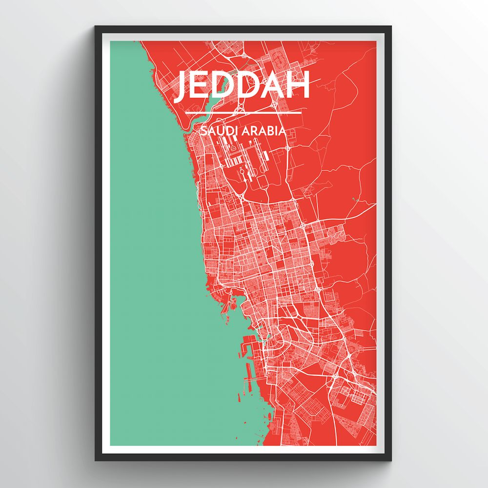 Jeddah City Map Art Print - Point Two Design