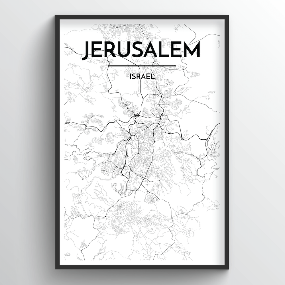 Jerusalem City Map Art Print - Point Two Design