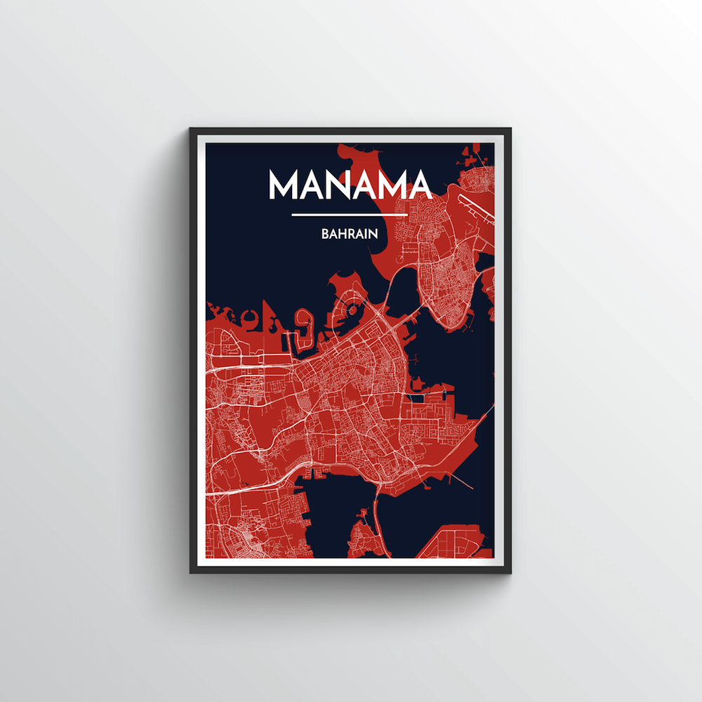 Manama Map Art Print - Point Two Design