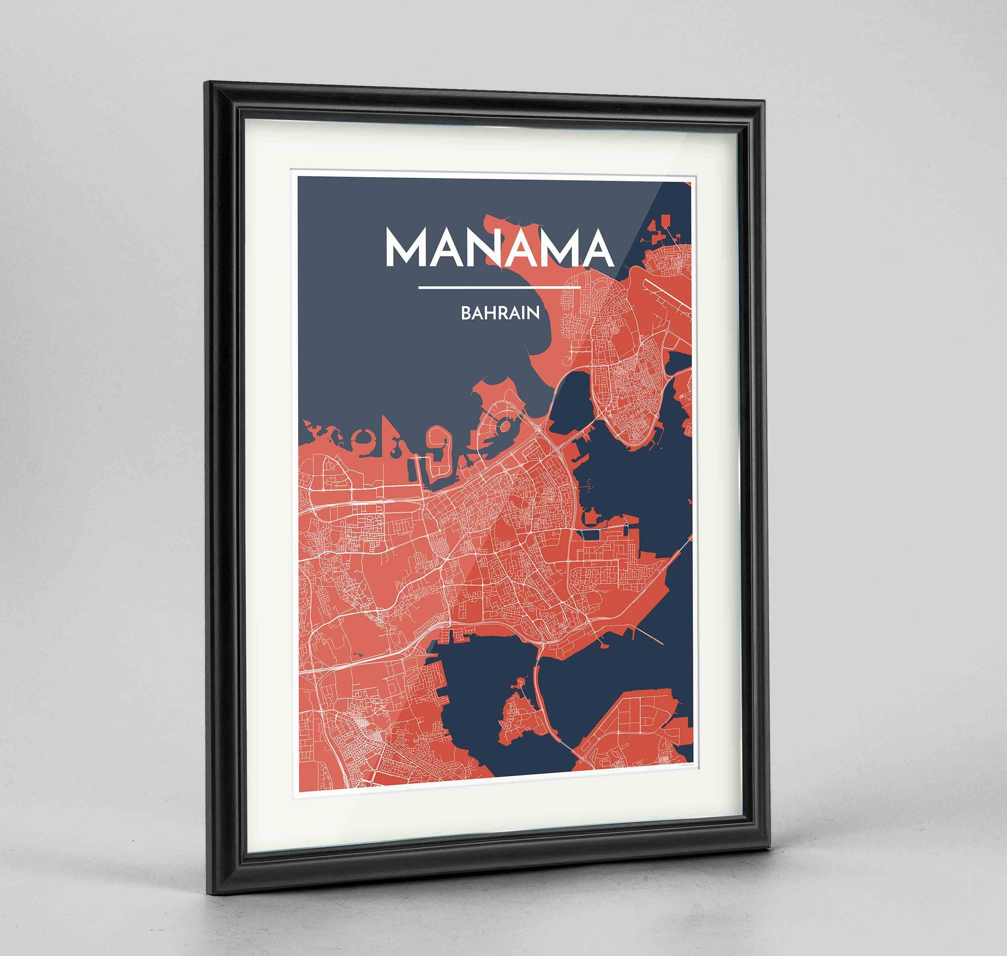 "Framed Manama Map Art Print 24x36"" Traditional Black frame Point Two Design Group"