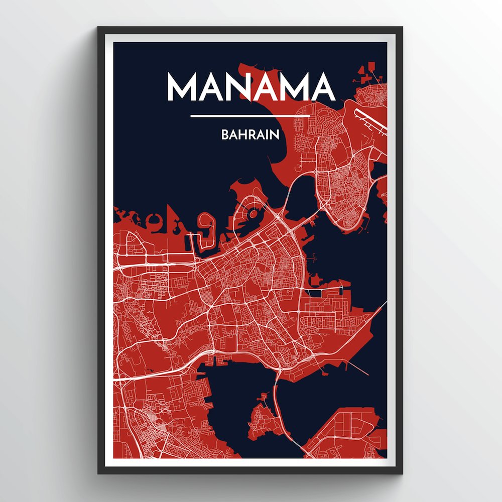 Manama City Map Art Print - Point Two Design