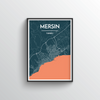 Mersin City Map Art Print - Point Two Design - Black & White Print