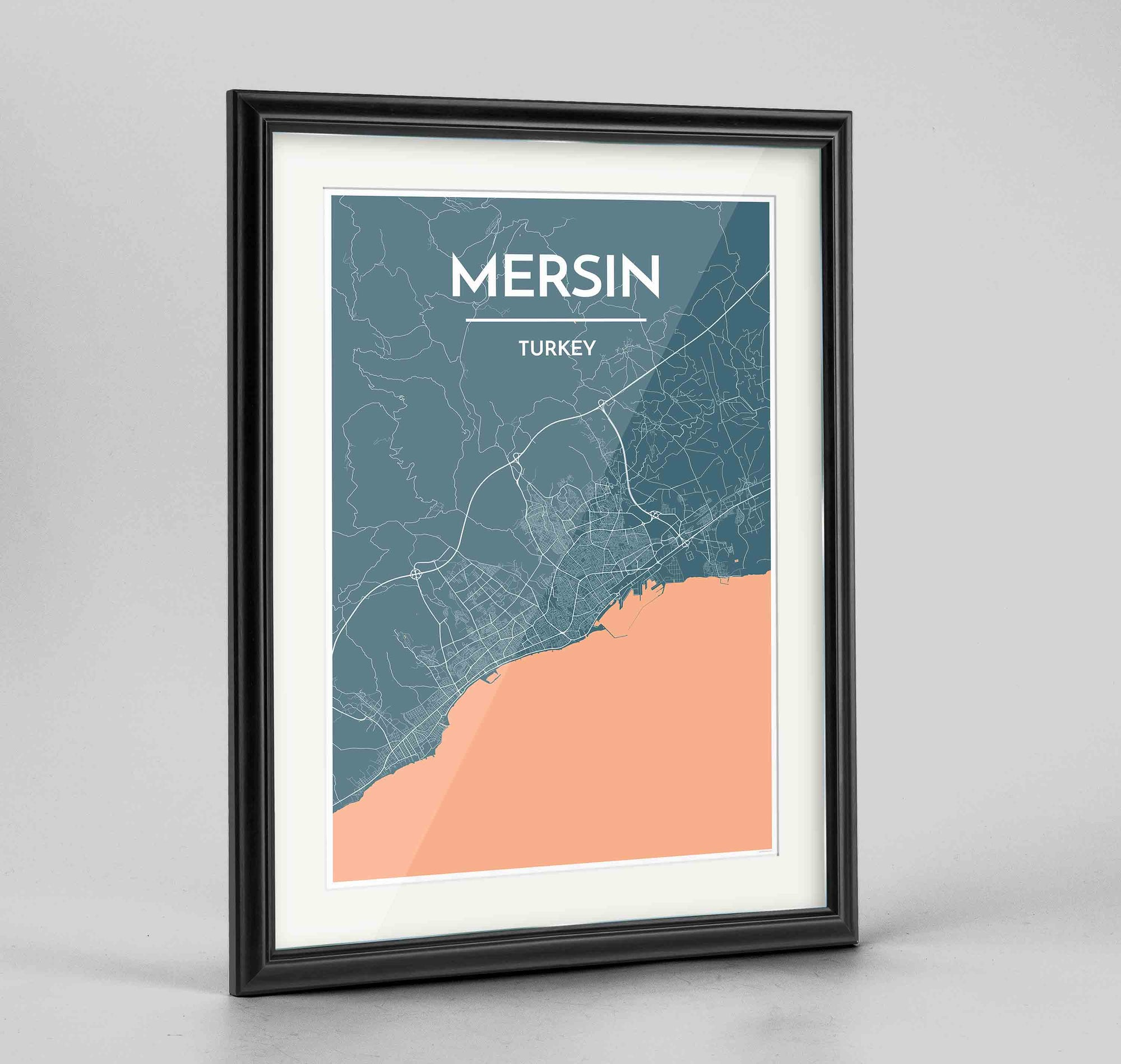 "Framed Mersin Map Art Print 24x36"" Traditional Black frame Point Two Design Group"