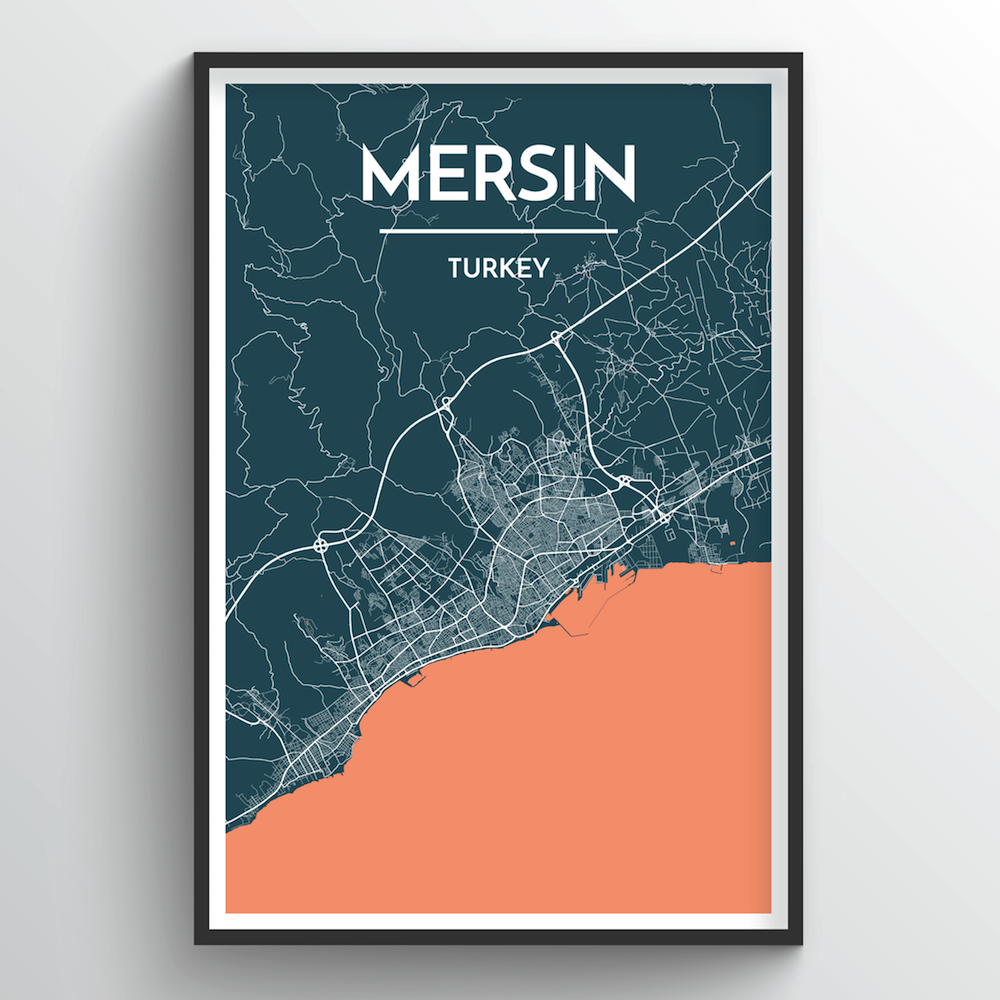 Mersin City Map Art Print - Point Two Design
