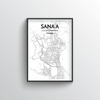 Sana'a City Map Art Print - Point Two Design - Black & White Print