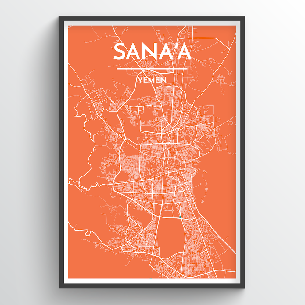 Sana'a City Map Art Print - Point Two Design