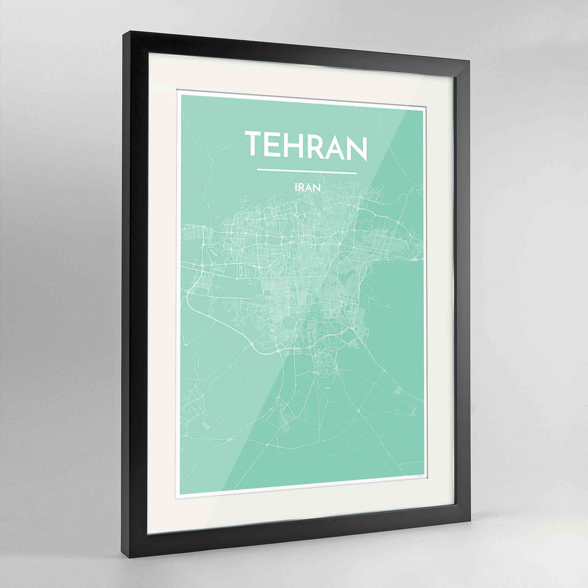 "Framed Tehran Map Art Print 24x36"" Contemporary Black frame Point Two Design Group"