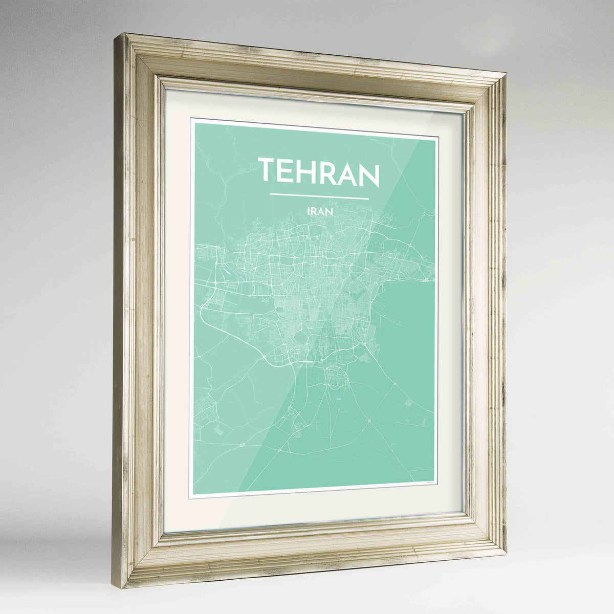"Framed Tehran Map Art Print 24x36"" Champagne frame Point Two Design Group"