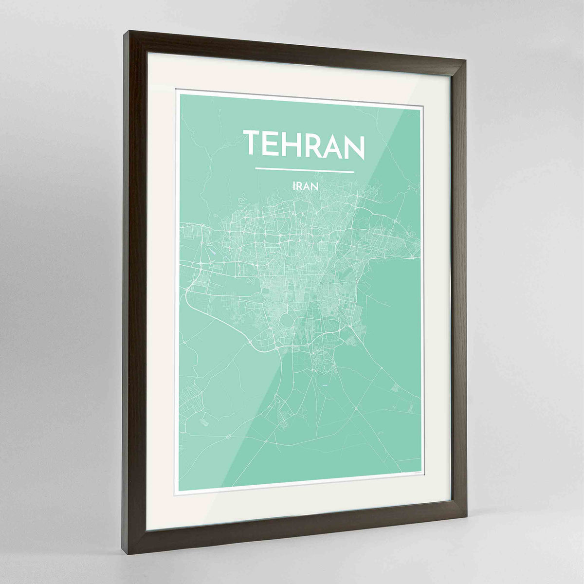 "Framed Tehran Map Art Print 24x36"" Contemporary Walnut frame Point Two Design Group"