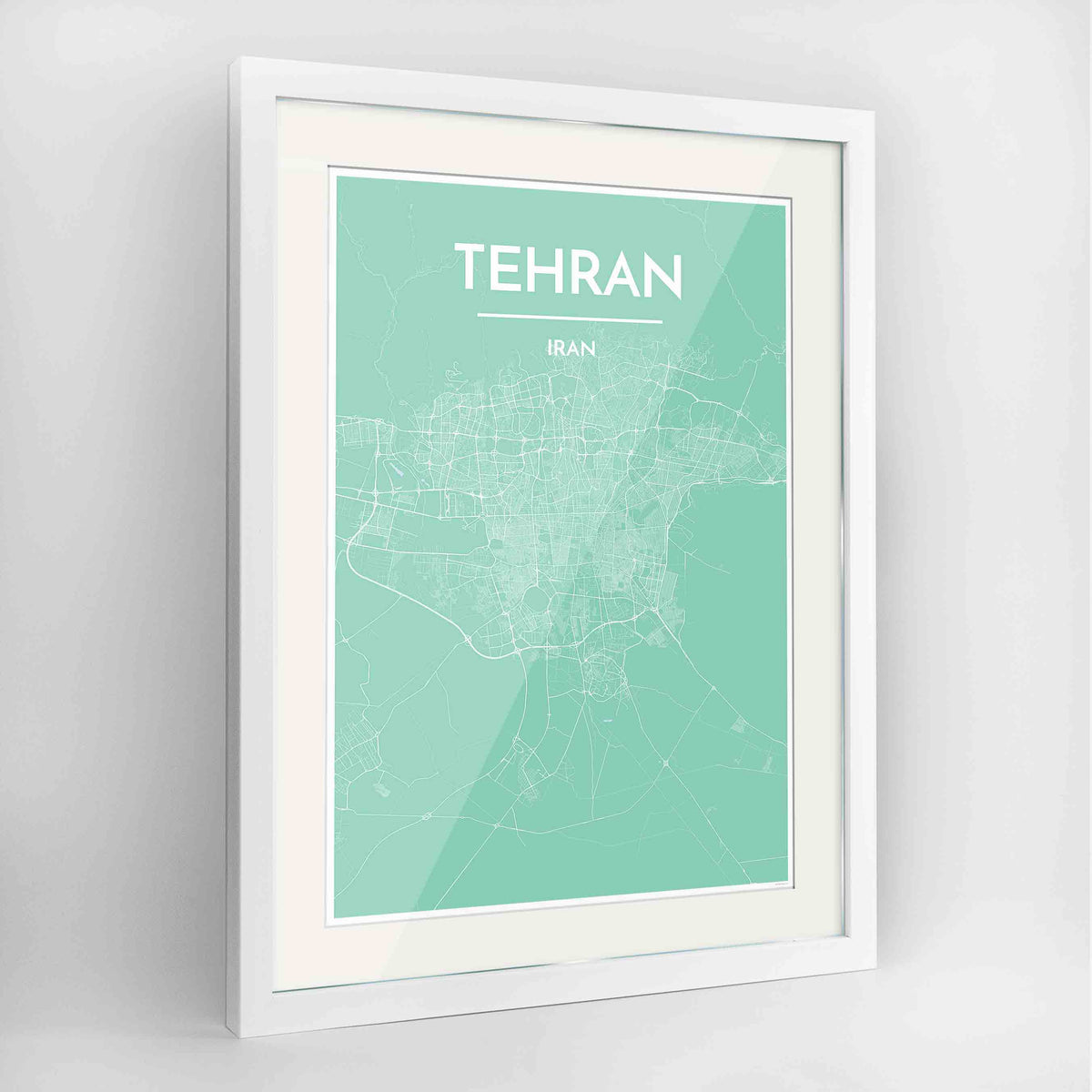 "Framed Tehran Map Art Print 24x36"" Contemporary White frame Point Two Design Group"