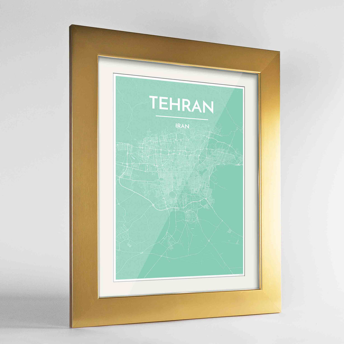 "Framed Tehran Map Art Print 24x36"" Gold frame Point Two Design Group"