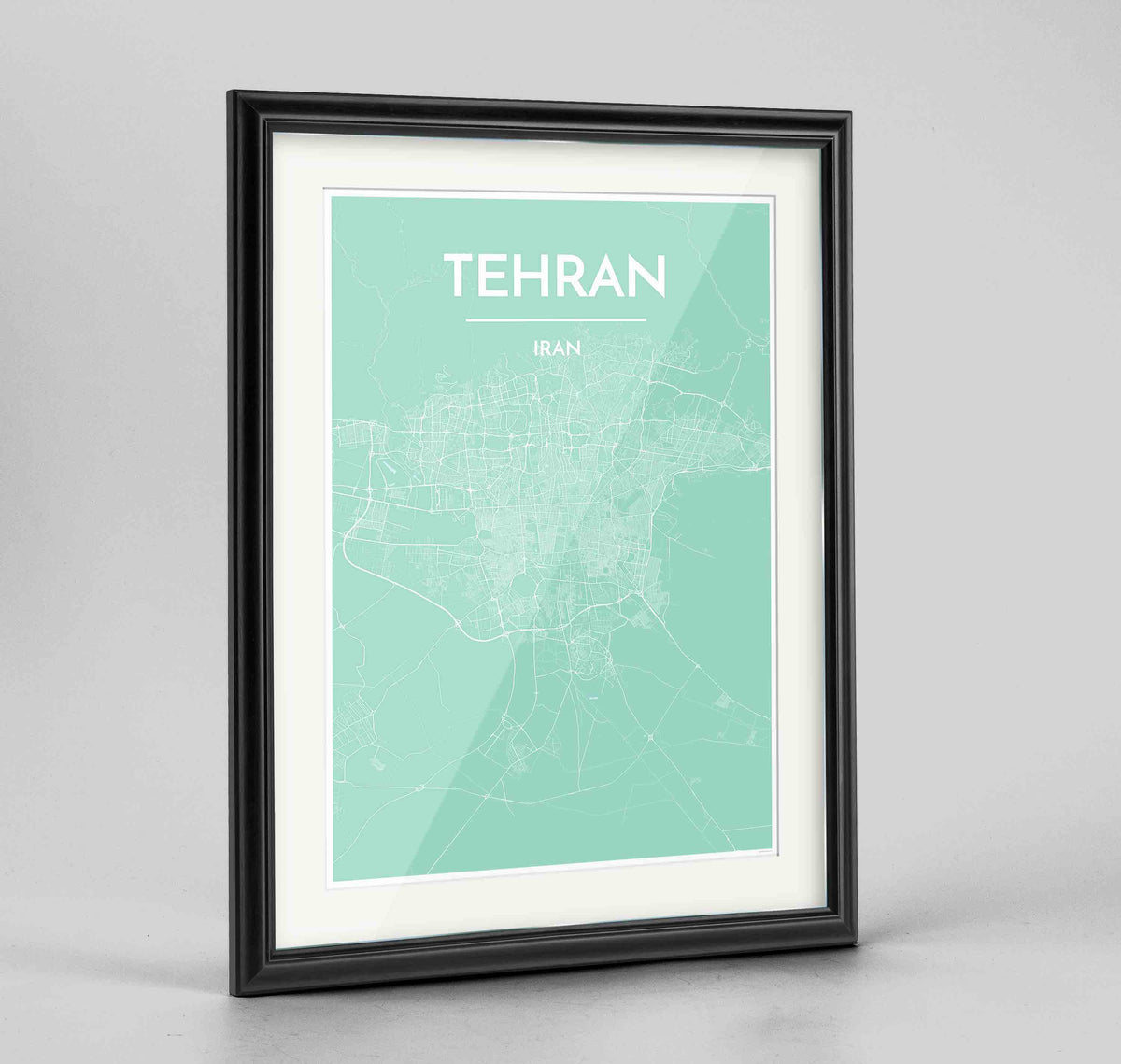 "Framed Tehran Map Art Print 24x36"" Traditional Black frame Point Two Design Group"