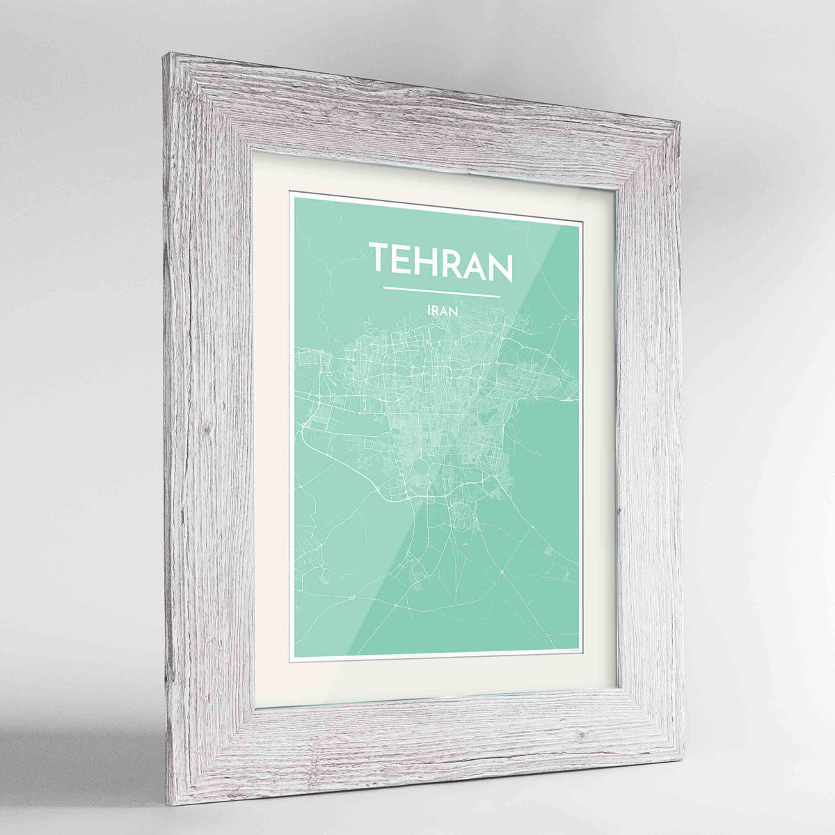 "Framed Tehran Map Art Print 24x36"" Western White frame Point Two Design Group"