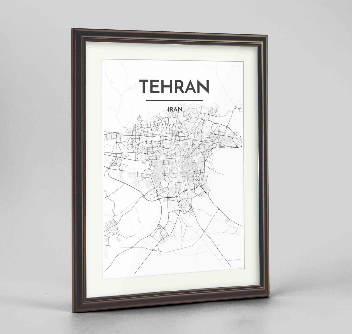 "Framed Tehran Map Art Print 24x36"" Traditional Walnut frame Point Two Design Group"