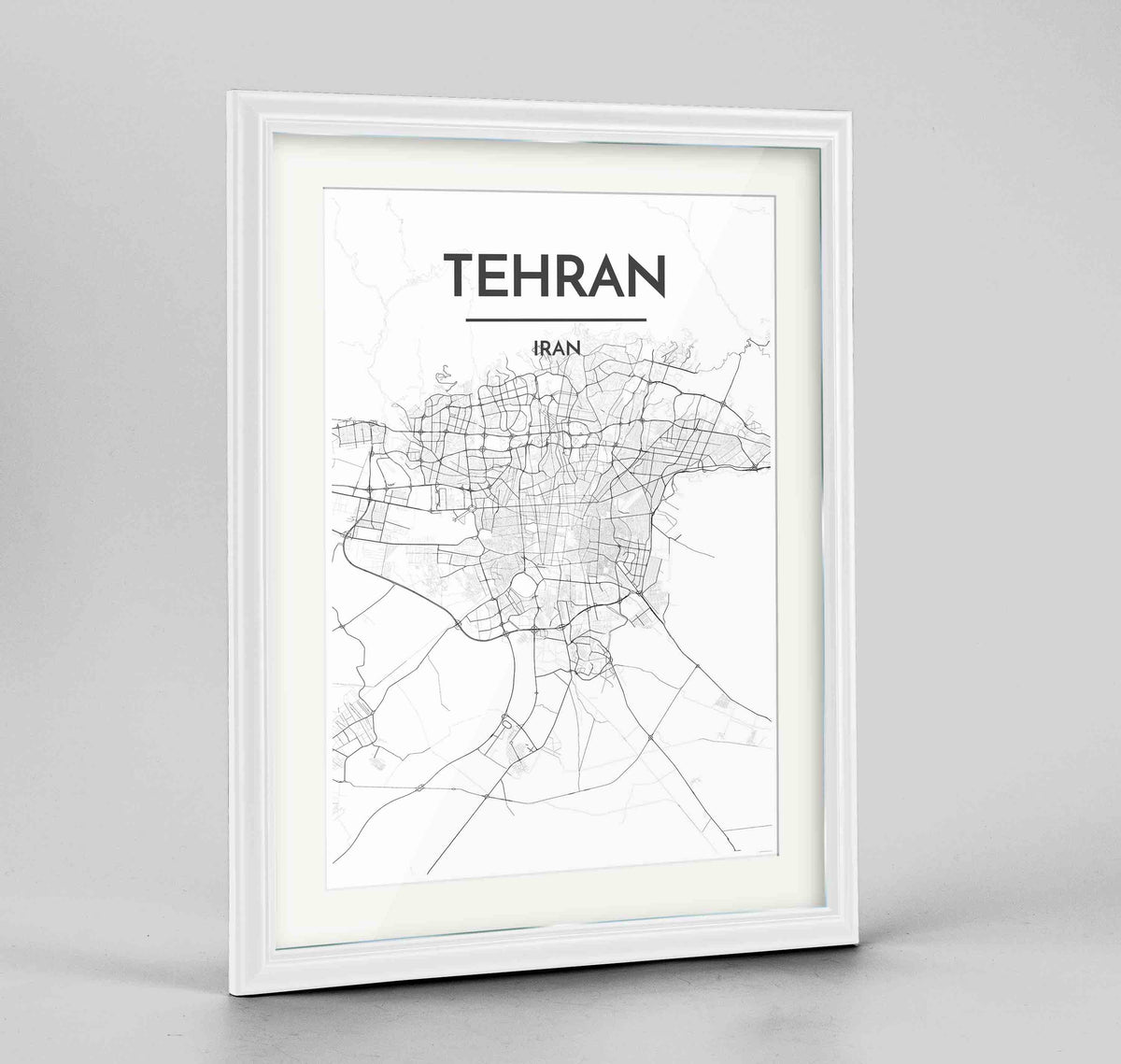 "Framed Tehran Map Art Print 24x36"" Traditional White frame Point Two Design Group"