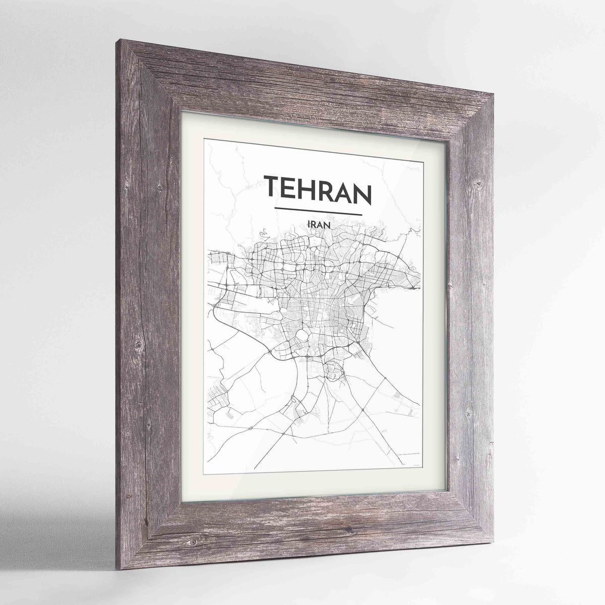 "Framed Tehran Map Art Print 24x36"" Western Grey frame Point Two Design Group"