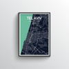 Tel Aviv City Map Art Print - Point Two Design - Black & White Print