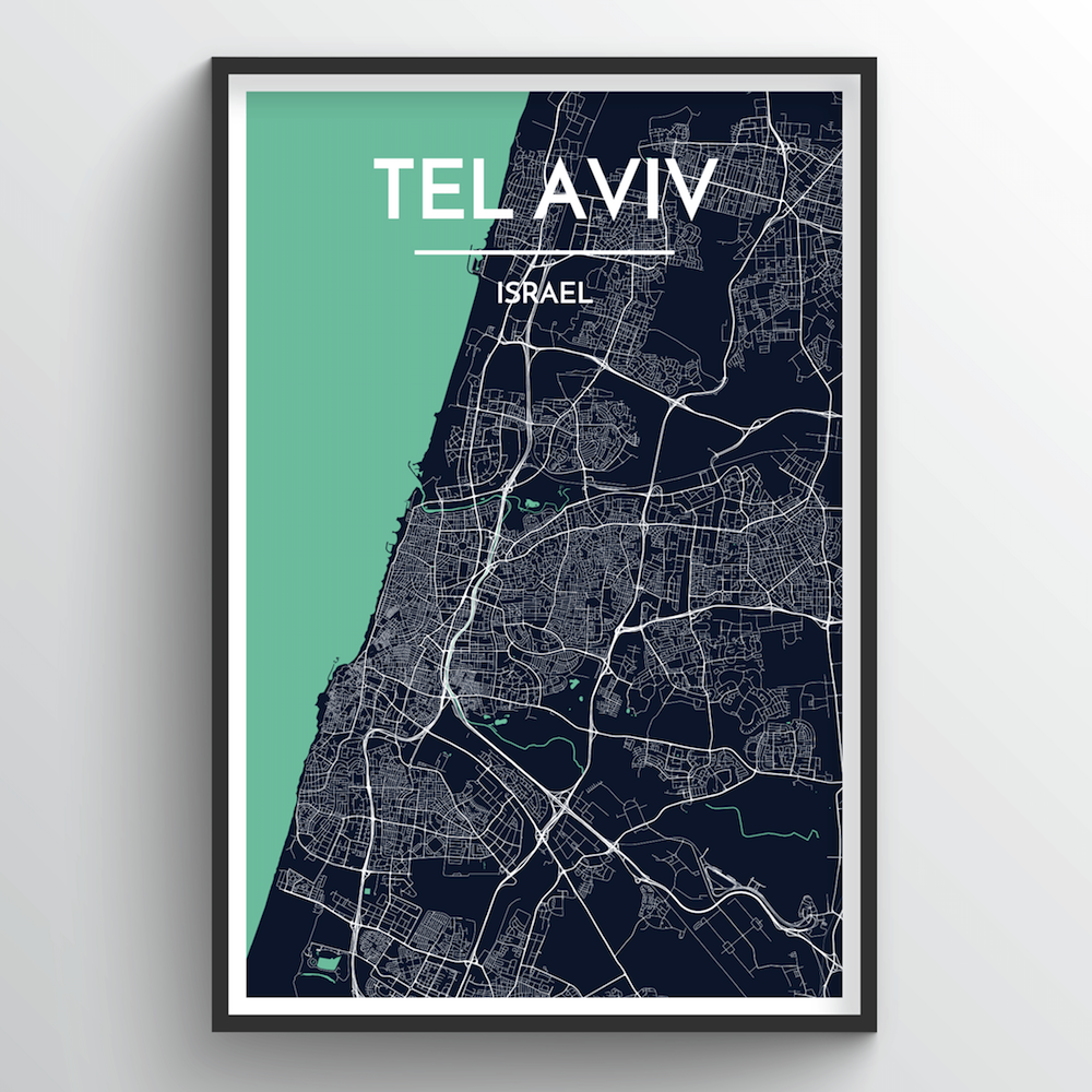 Tel Aviv City Map Art Print - Point Two Design