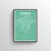 Tehran City Map Art Print - Point Two Design - Black & White Print
