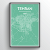 Tehran City Map Art Print - Point Two Design