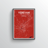Yerevan City Map Art Print - Point Two Design - Black & White Print