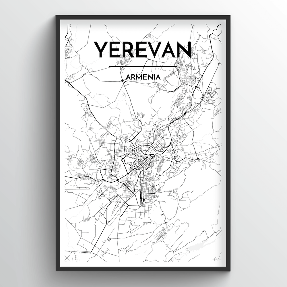 Yerevan Map Art Print - Point Two Design