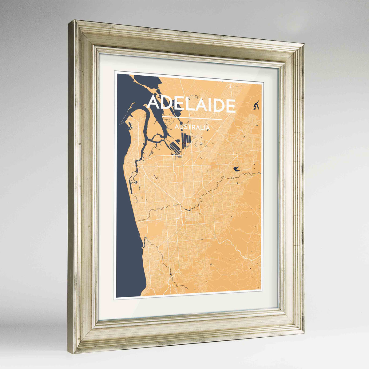 "Framed Adelaide Map Art Print 24x36"" Champagne frame Point Two Design Group"