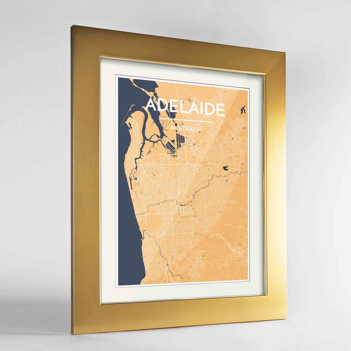 "Framed Adelaide Map Art Print 24x36"" Gold frame Point Two Design Group"