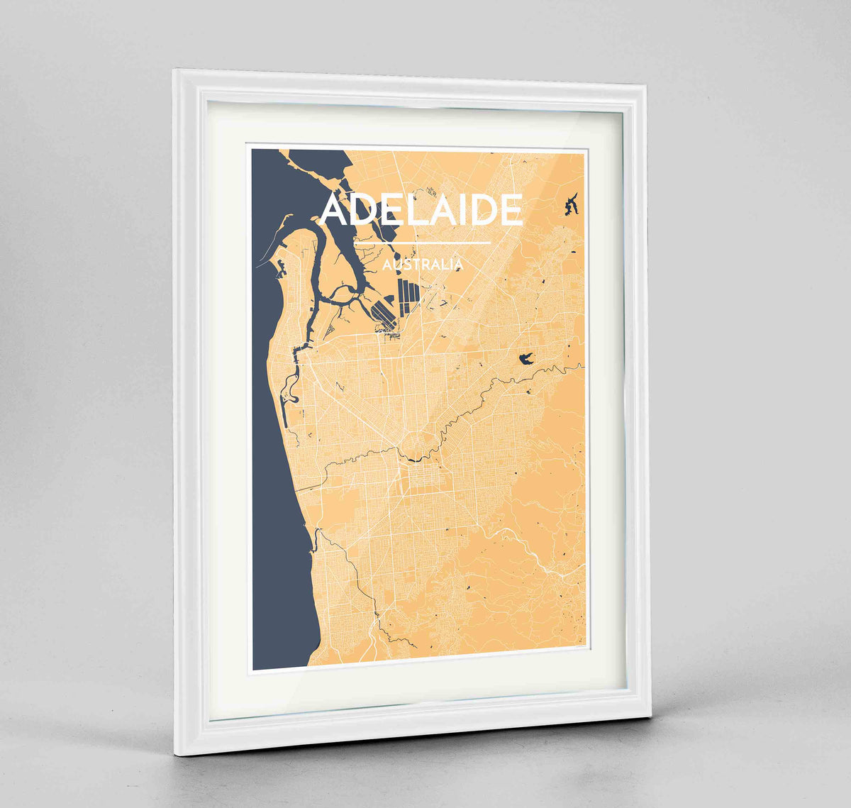 "Framed Adelaide Map Art Print 24x36"" Traditional White frame Point Two Design Group"