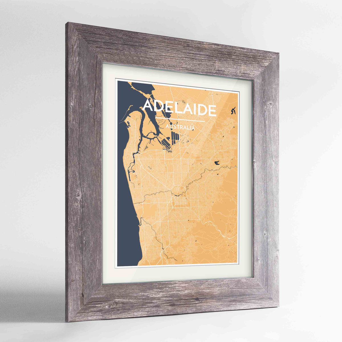 "Framed Adelaide Map Art Print 24x36"" Western Grey frame Point Two Design Group"
