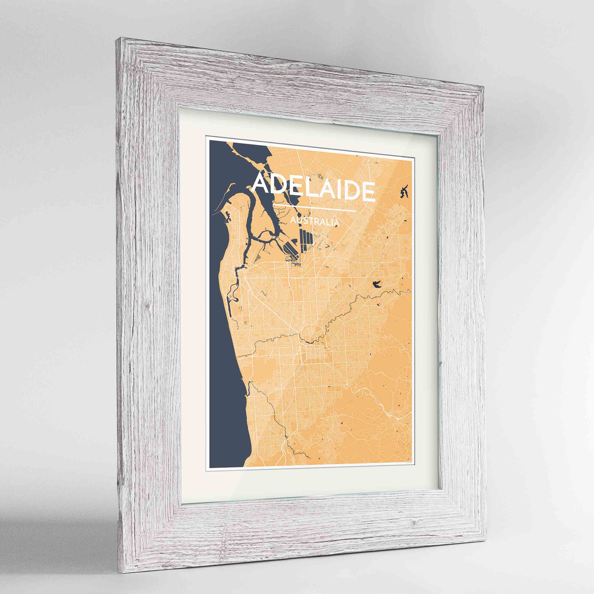 "Framed Adelaide Map Art Print 24x36"" Western White frame Point Two Design Group"