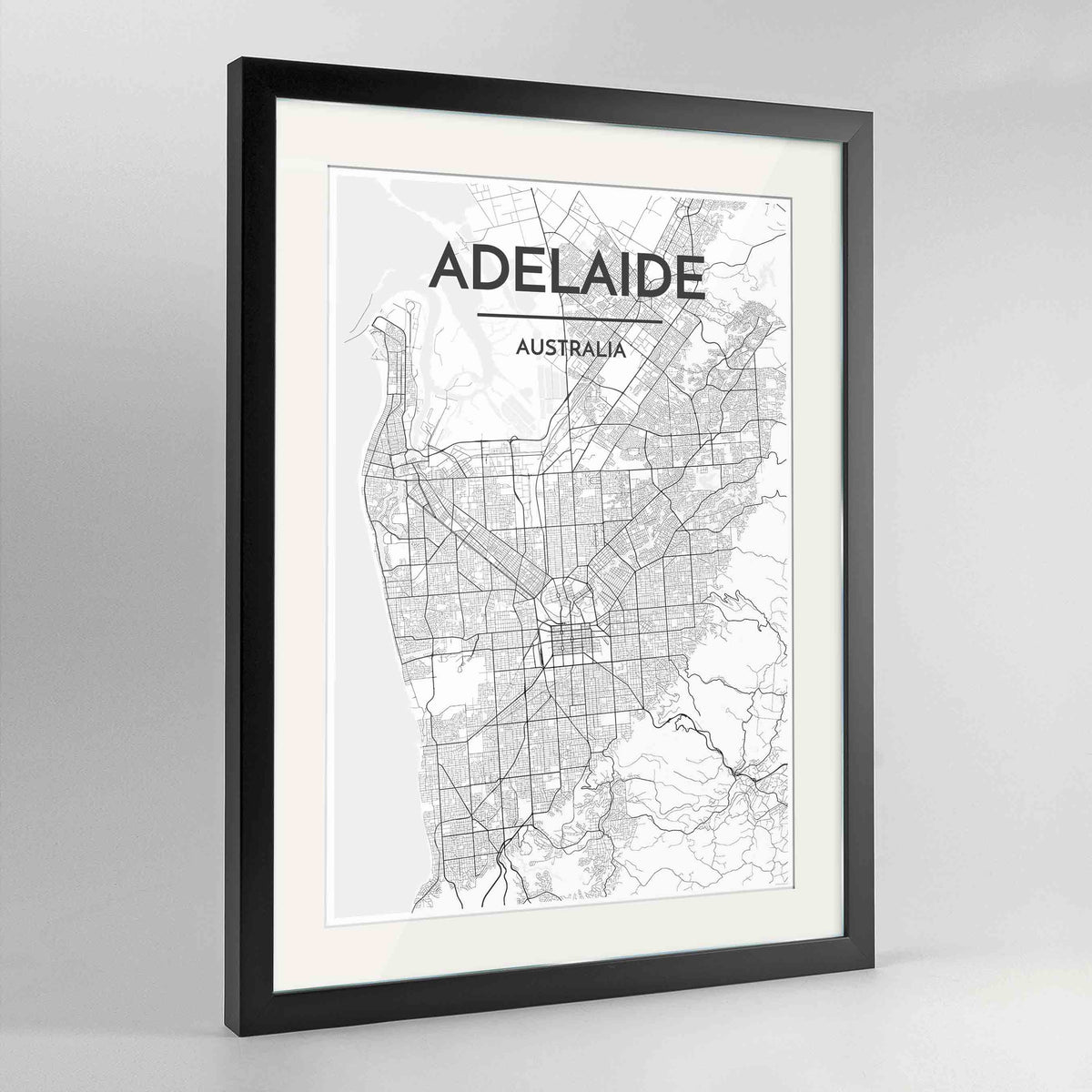 "Framed Adelaide Map Art Print 24x36"" Contemporary Black frame Point Two Design Group"