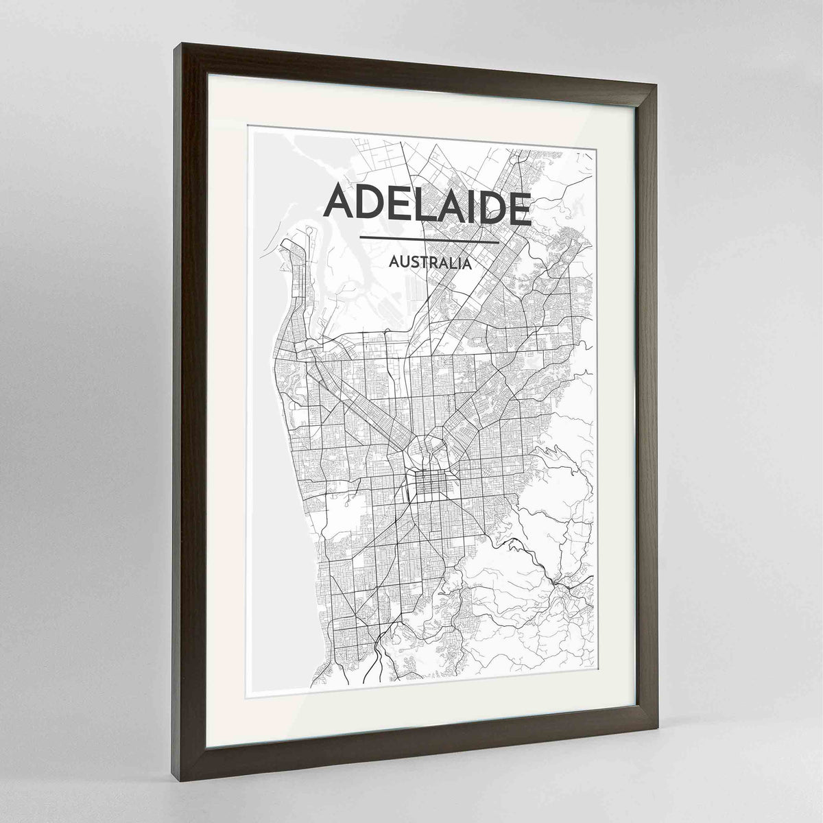 "Framed Adelaide Map Art Print 24x36"" Contemporary Walnut frame Point Two Design Group"