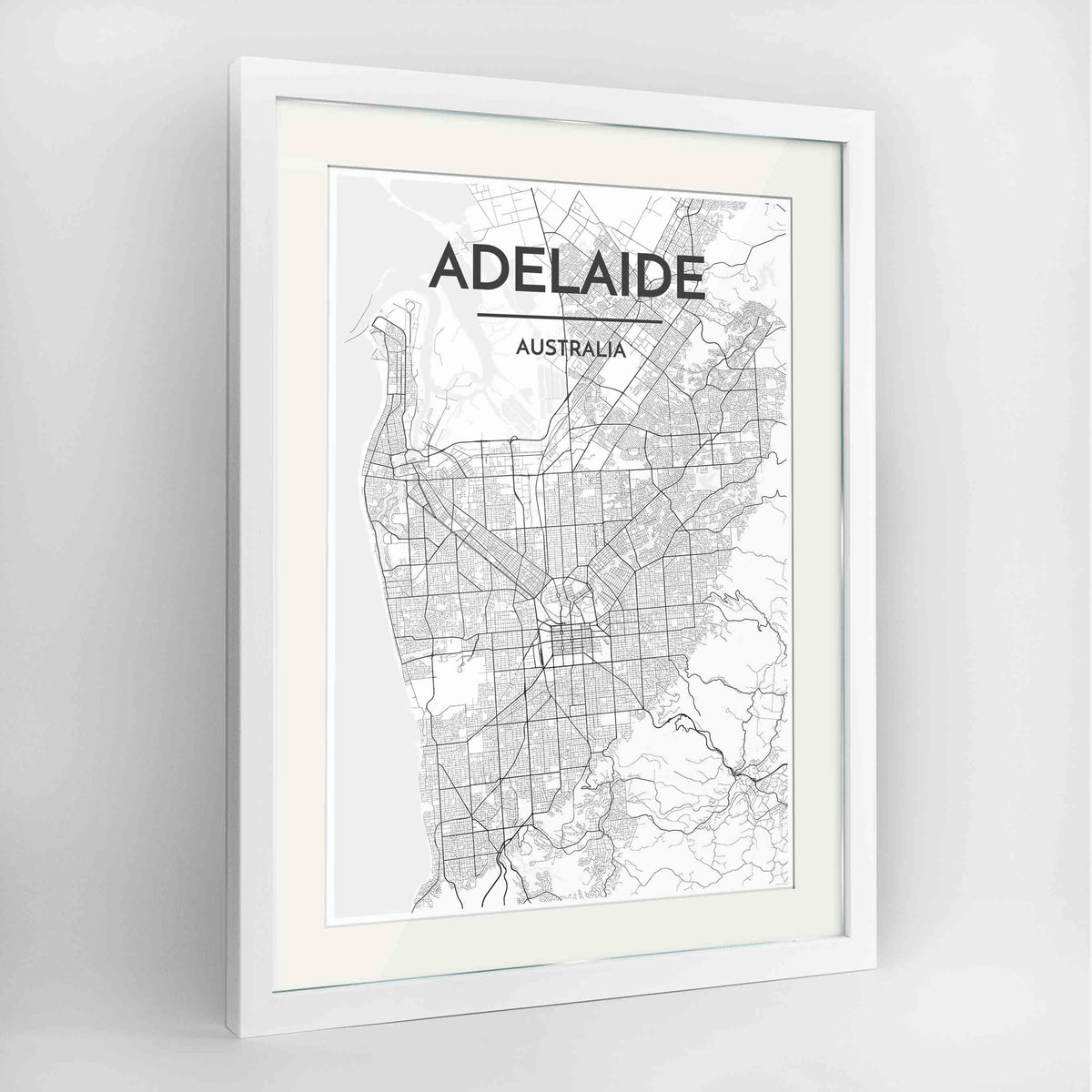 "Framed Adelaide Map Art Print 24x36"" Contemporary White frame Point Two Design Group"