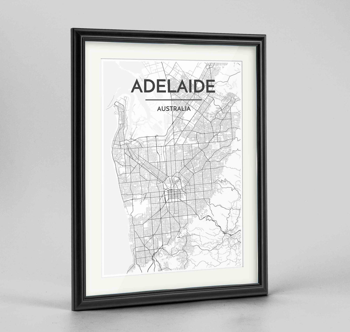 "Framed Adelaide Map Art Print 24x36"" Traditional Black frame Point Two Design Group"
