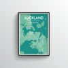 Auckland City Map Art Print - Point Two Design - Black & White Print