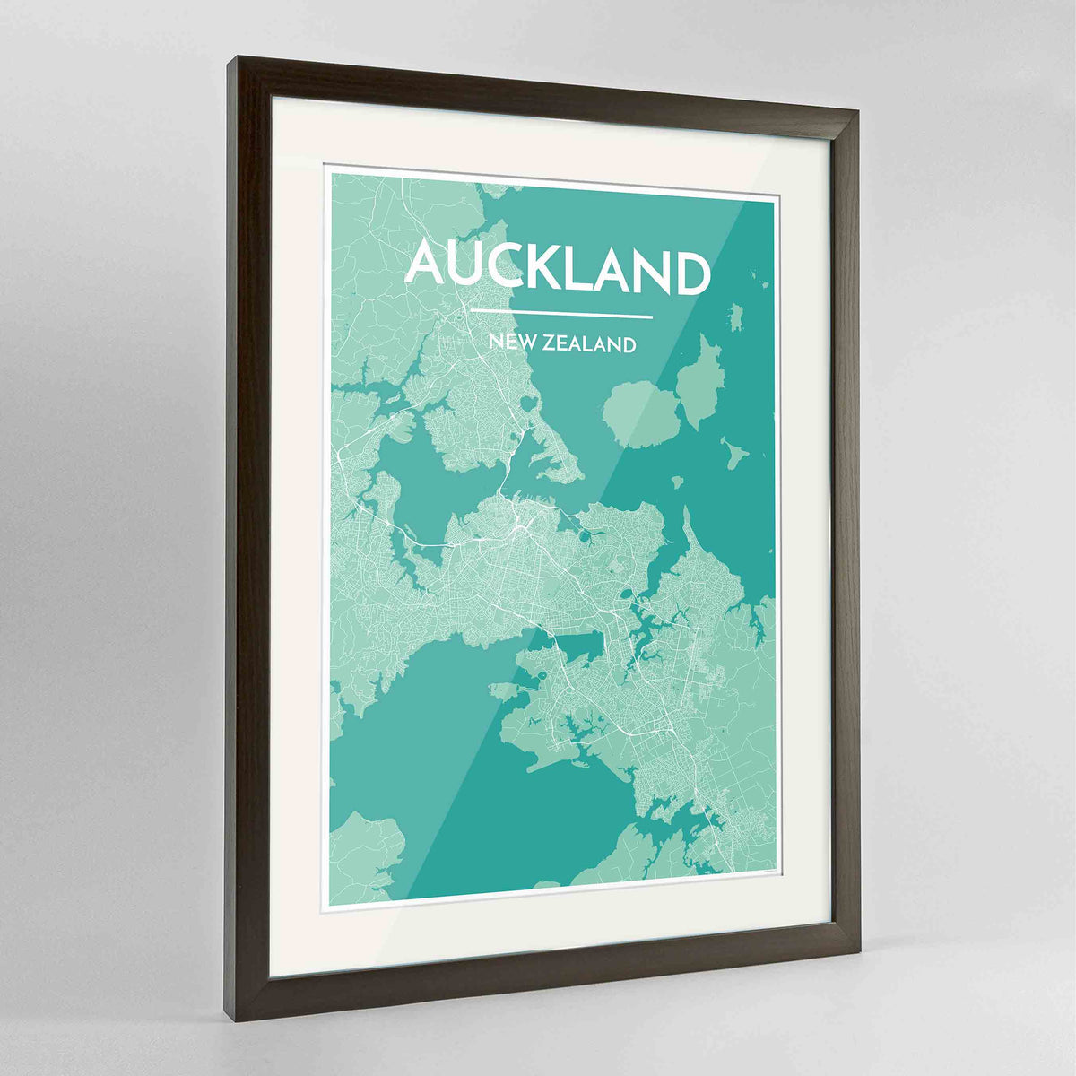 "Framed Auckland Map Art Print 24x36"" Contemporary Walnut frame Point Two Design Group"