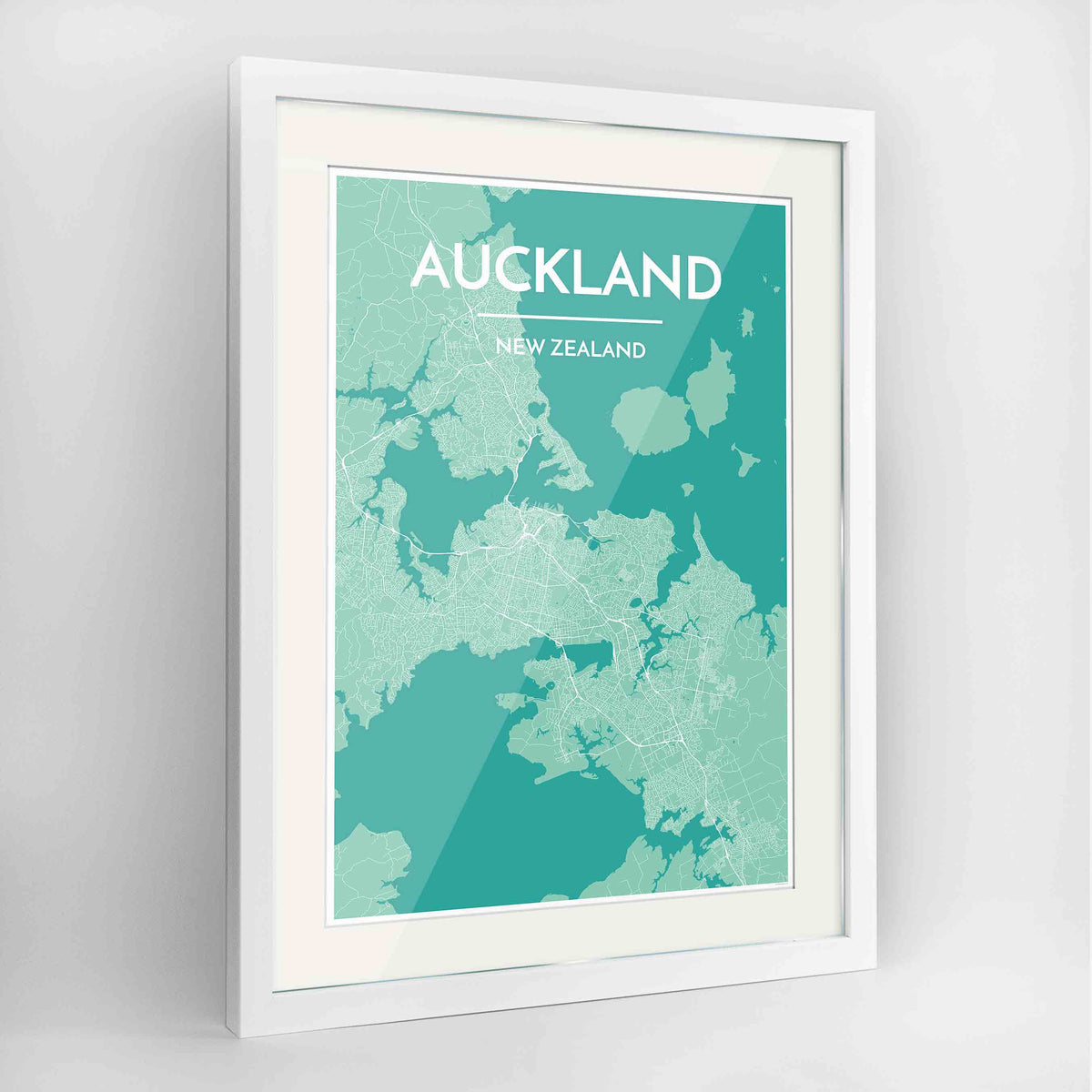 "Framed Auckland Map Art Print 24x36"" Contemporary White frame Point Two Design Group"