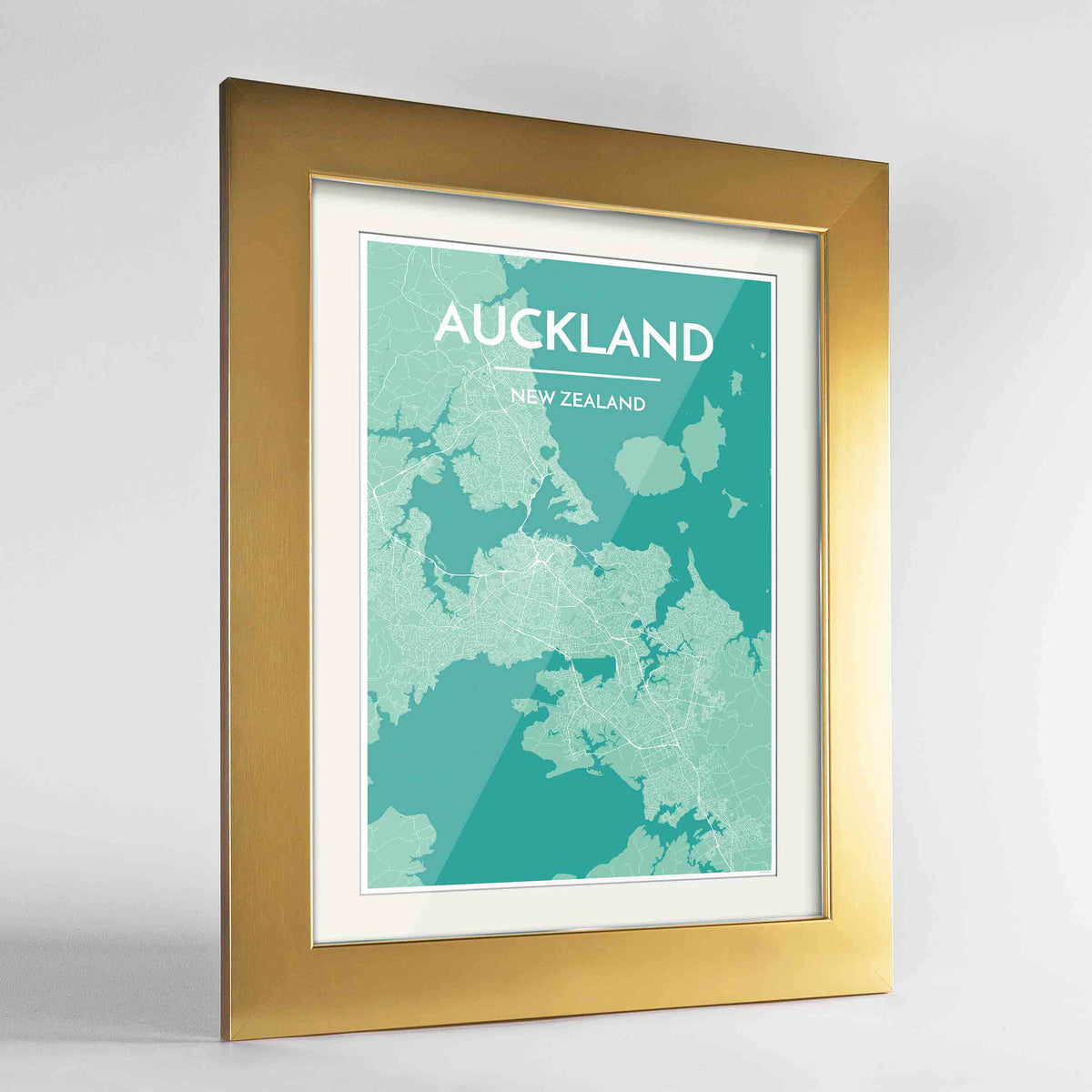 "Framed Auckland Map Art Print 24x36"" Gold frame Point Two Design Group"