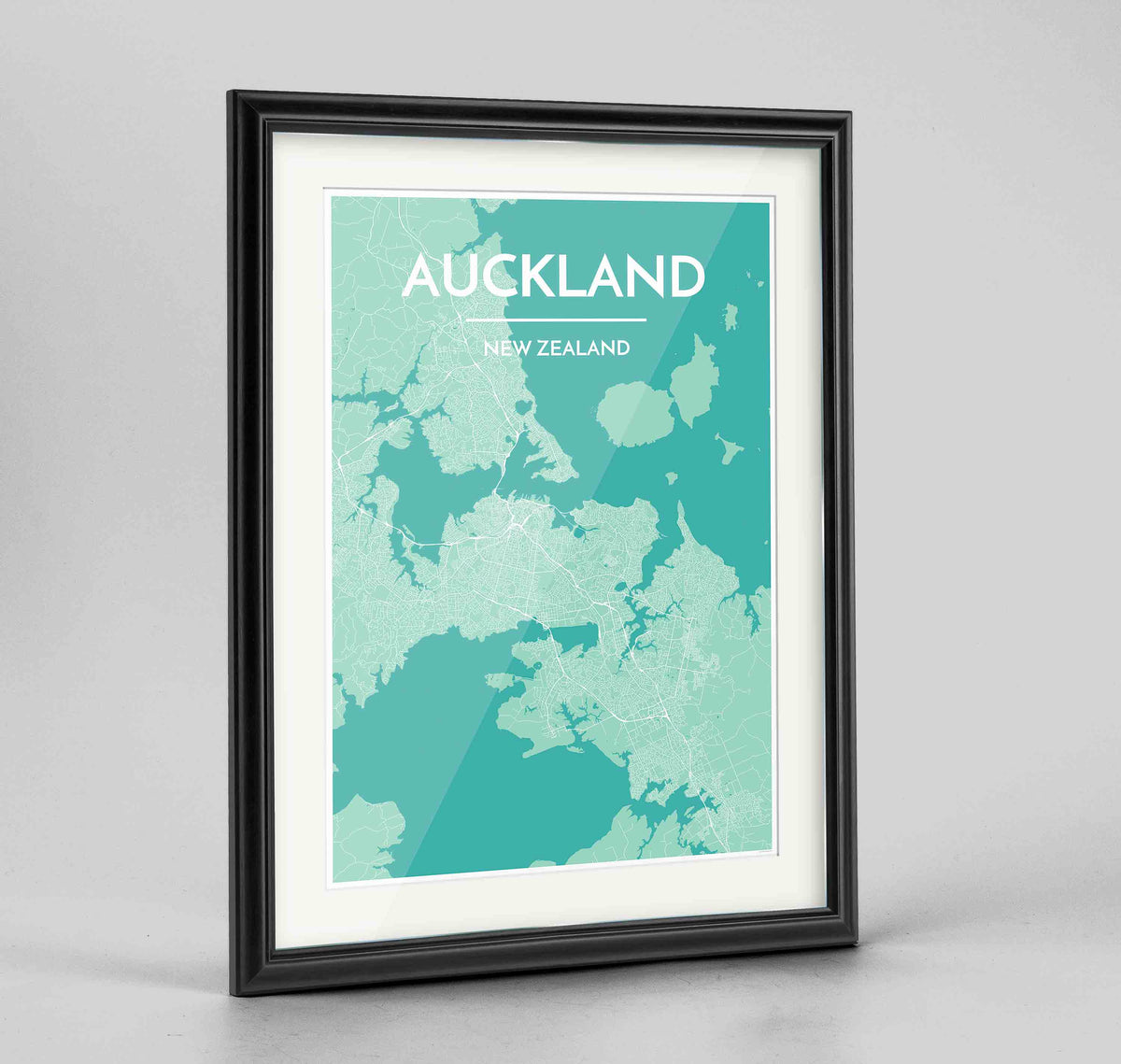 "Framed Auckland Map Art Print 24x36"" Traditional Black frame Point Two Design Group"