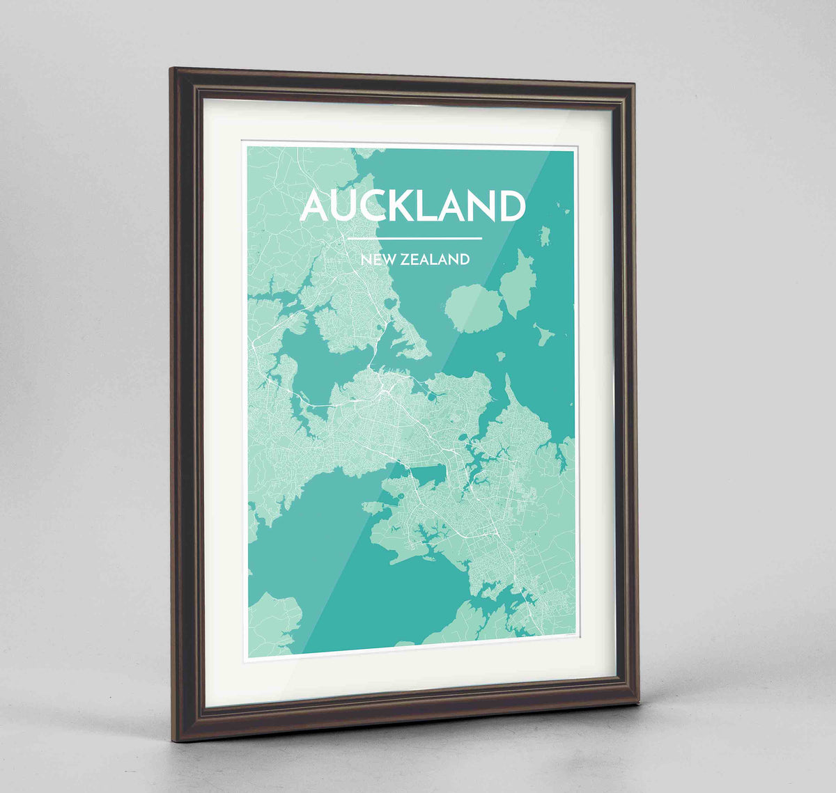 "Framed Auckland Map Art Print 24x36"" Traditional Walnut frame Point Two Design Group"