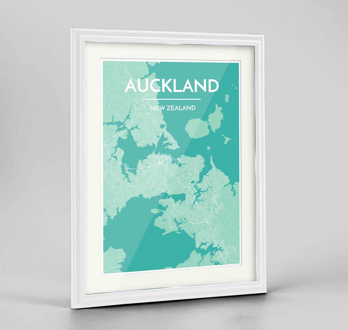 "Framed Auckland Map Art Print 24x36"" Traditional White frame Point Two Design Group"