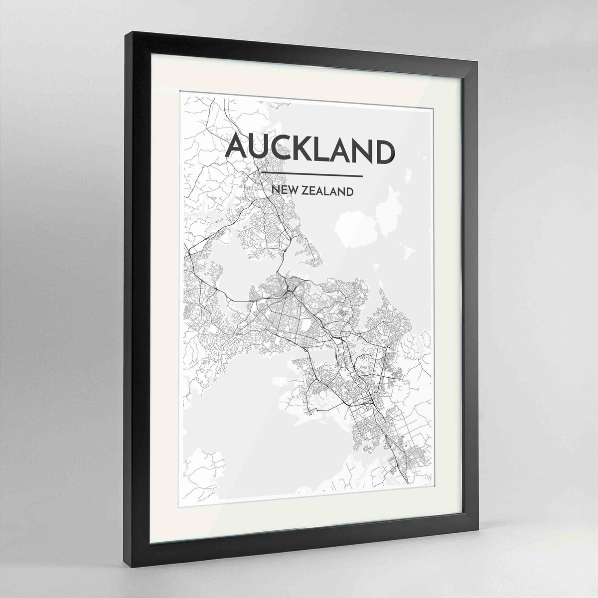 "Framed Auckland Map Art Print 24x36"" Contemporary Black frame Point Two Design Group"