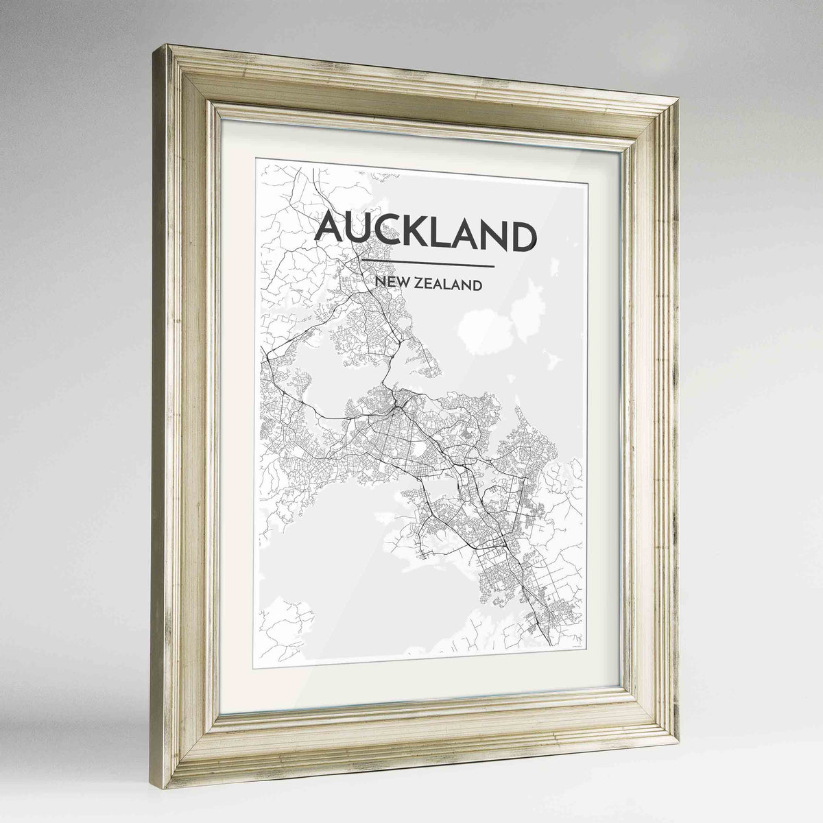 "Framed Auckland Map Art Print 24x36"" Champagne frame Point Two Design Group"