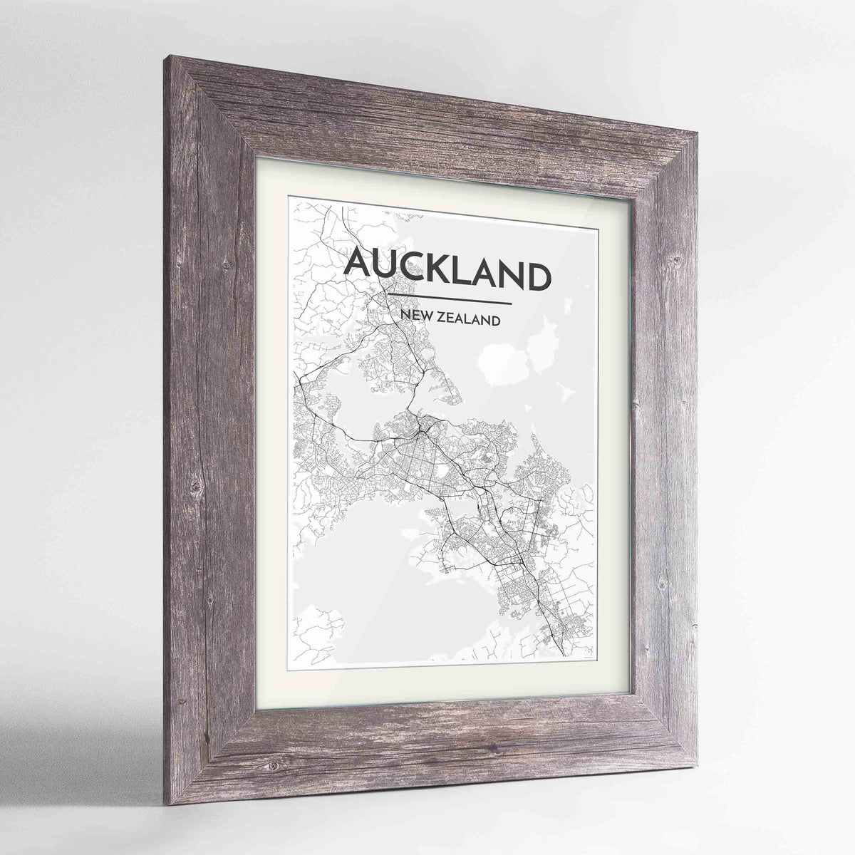 "Framed Auckland Map Art Print 24x36"" Western Grey frame Point Two Design Group"