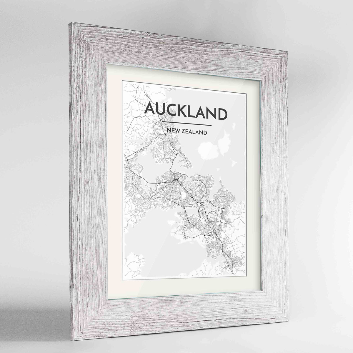 "Framed Auckland Map Art Print 24x36"" Western White frame Point Two Design Group"