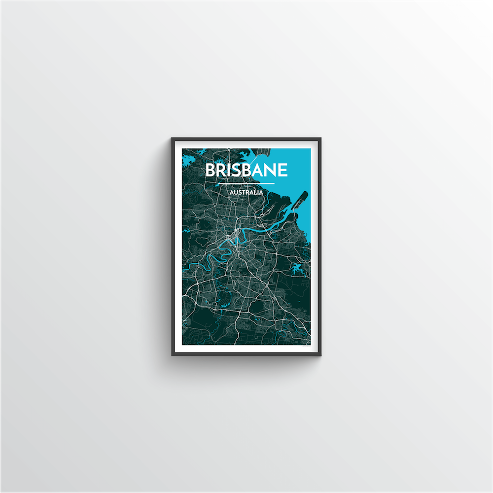 Brisbane Map Art Print - Point Two Design