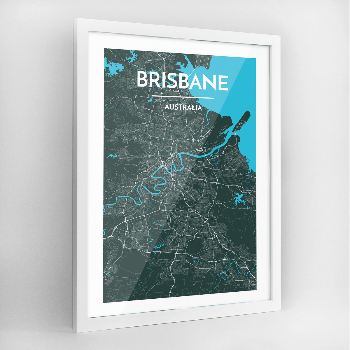 Brisbane Map Art Print - Framed