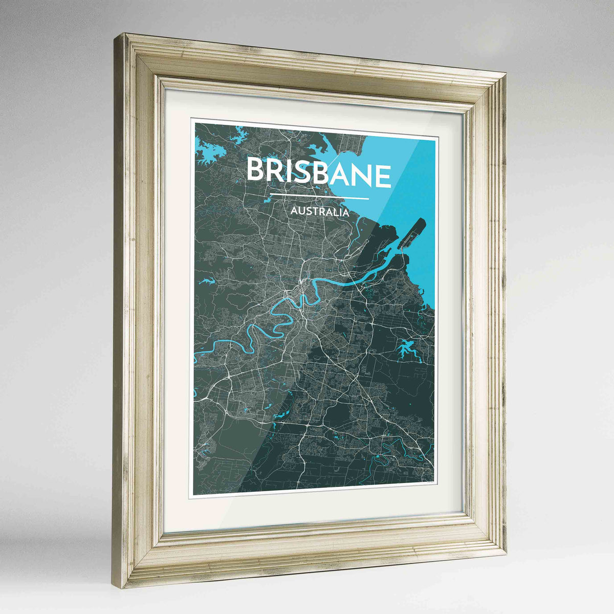 "Framed Brisbane Map Art Print 24x36"" Champagne frame Point Two Design Group"