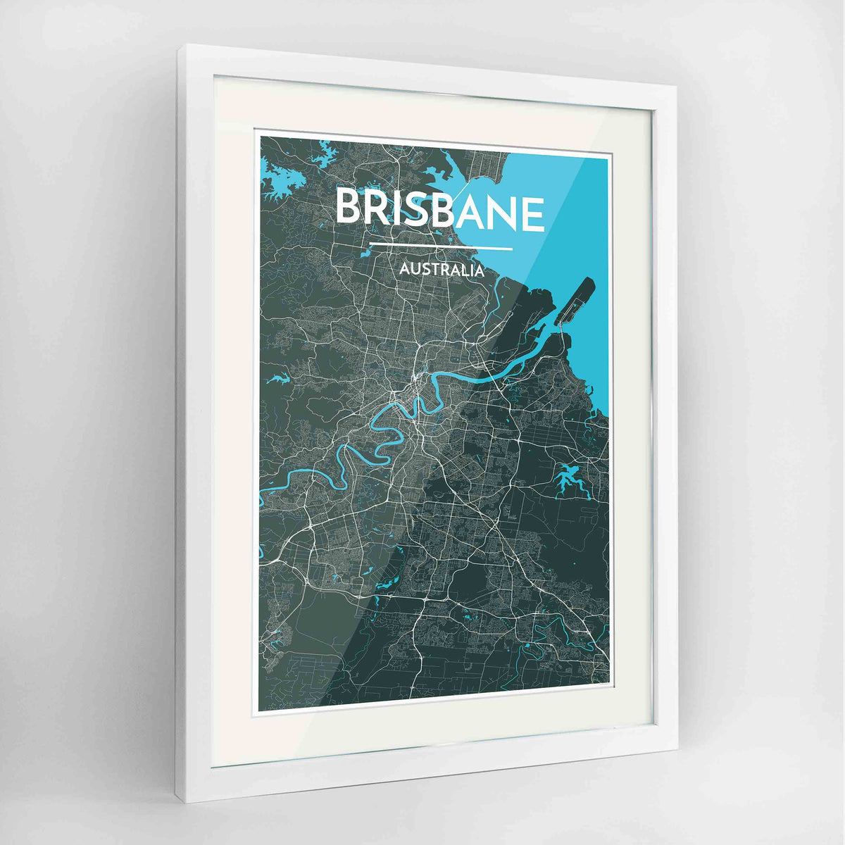 "Framed Brisbane Map Art Print 24x36"" Contemporary White frame Point Two Design Group"